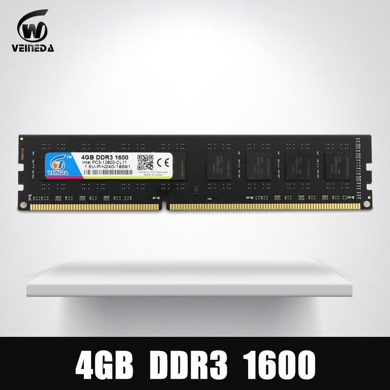 VEINEDA Dimm Ram DDR3 4 gb 1600 mhz Compatibile 1333 1066 ddr 3 4 gb PC3-12800 Memoria 240pin per Tutti I AMD Intel Desktop