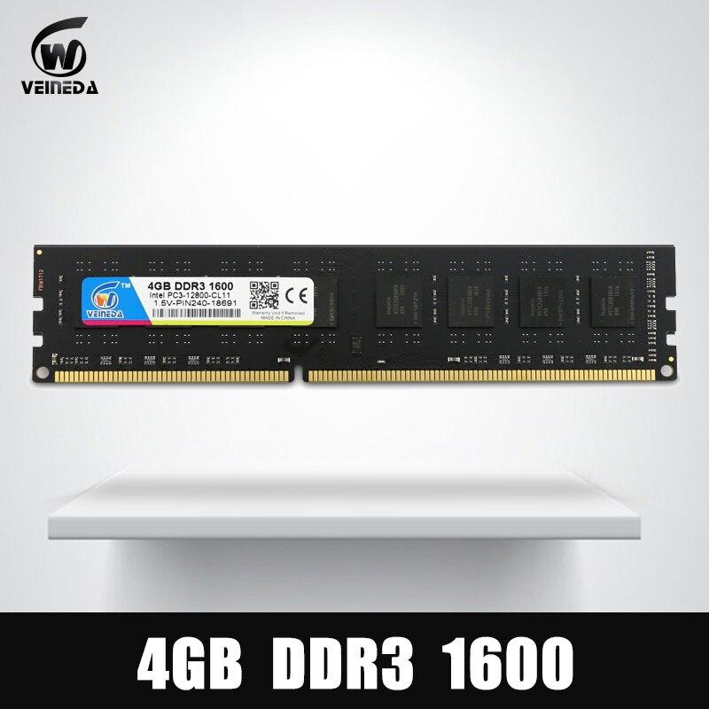 VEINEDA Ram Dimm DDR3 4 GB 1600 MHz 1333 Compatible 1066 ddr 3 4 GB PC3-12800 Memoria 240pin para todos intel AMD de escritorio