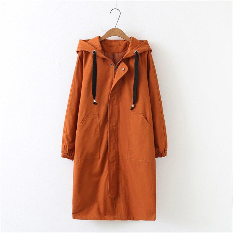 Plus Size Female Windbreaker 2019 New Spring Korean Hooded Long Trench Coat Female Loose Large Size Women Basic Coats Clothing