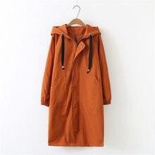 Abrigo suelto de talla grande para mujer, gabardina larga con capucha coreana, abrigo suelto para mujer, abrigos básicos de talla grande, ropa 2020