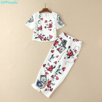 QYFCIOUFU Summer Women White Two Piece Set 2018 Short Sleeve Pullovers Tops And Blouses + High Quality Runway Floral Print Pants