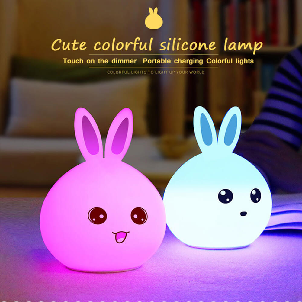 Touch baby rabbit night light Energy Saving nursey baby table lamp Lovely baby toy lights kids friends birthday gifts lighting in LED Night Lights from Lights Lighting