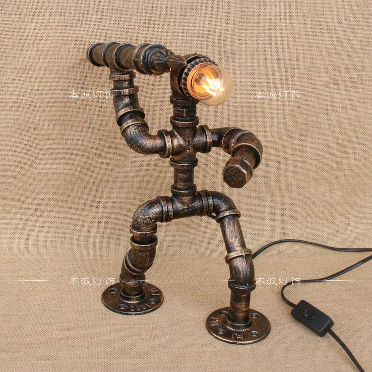 Water pipes industrial retro table lights for study bed ornament Childrens room boy room robot iron pipe lamp Table Lamps ZAWater pipes industrial retro table lights for study bed ornament Childrens room boy room robot iron pipe lamp Table Lamps ZA