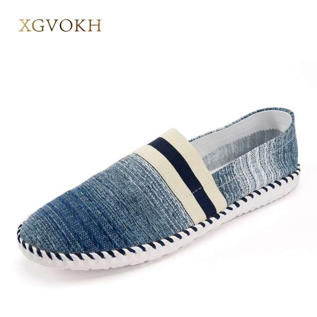 bb74f92a2b887 XGVOKH Men Loafers Breathable Handmade Canvas Shoes Spring Summer Striped  Slip on Light Casual Driving Flat with Boat Shoes