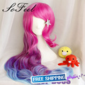 Sofeel 80cm Synthetic Hair Peruca LOL Miss Fortune Wavy Long Hot Pink Purple Blue rainbow wig Colorful Ombre Wig Cosplay wig cap