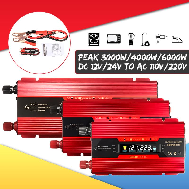 Car Inverter 12V/24V 220V 6000W P Eak Power Inverter Voltage Convertor Transformer DC 12V/24V To AC 220V Inversor LCD Display