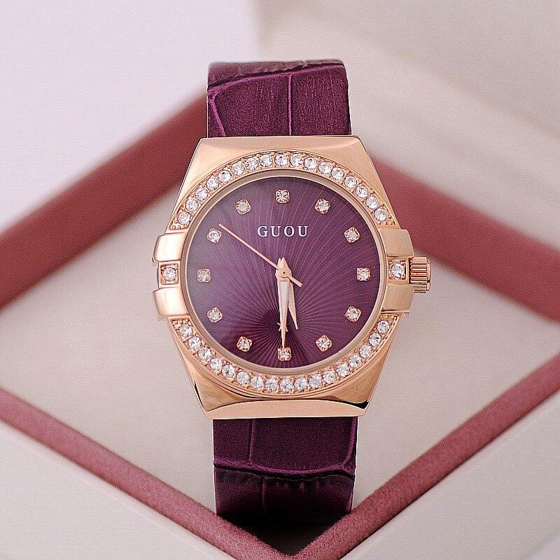 Click here to Buy Now!! GUOU Marque Bracelets de Haute Qualité Femmes Montre  En Cuir Véritable Strass La Dernière Tendance Violet Diamant Montres Cadeau  D 9abc0296a97