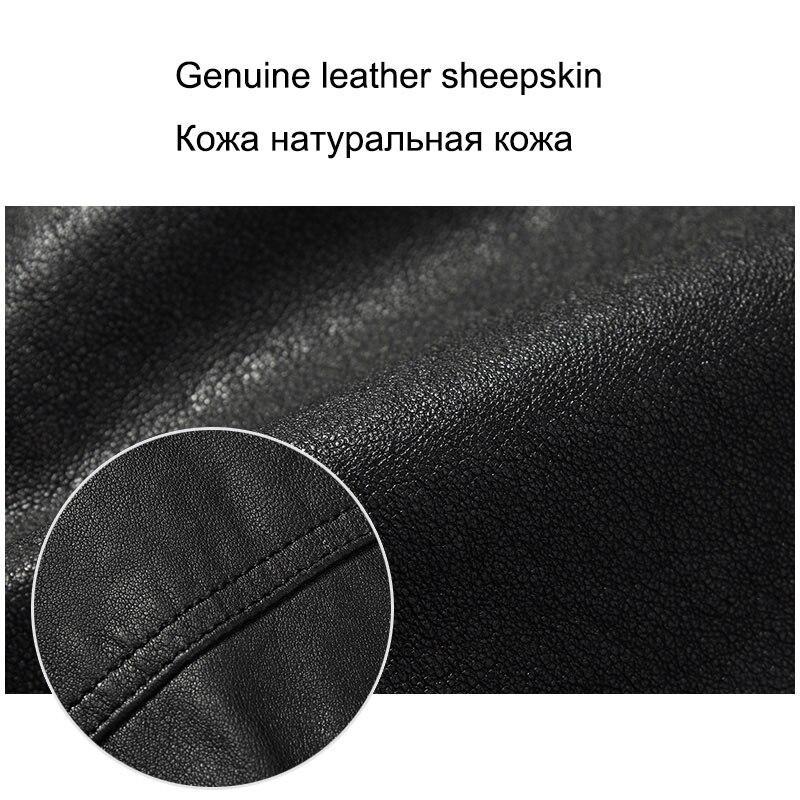 Klein Dusen skórzane kurtki mężczyźni prawdziwy kożuch szczupła projektant wiosna czarne skórzane odzież DK056 w Płaszcze ze skóry naturalnej od Odzież męska na  Grupa 3