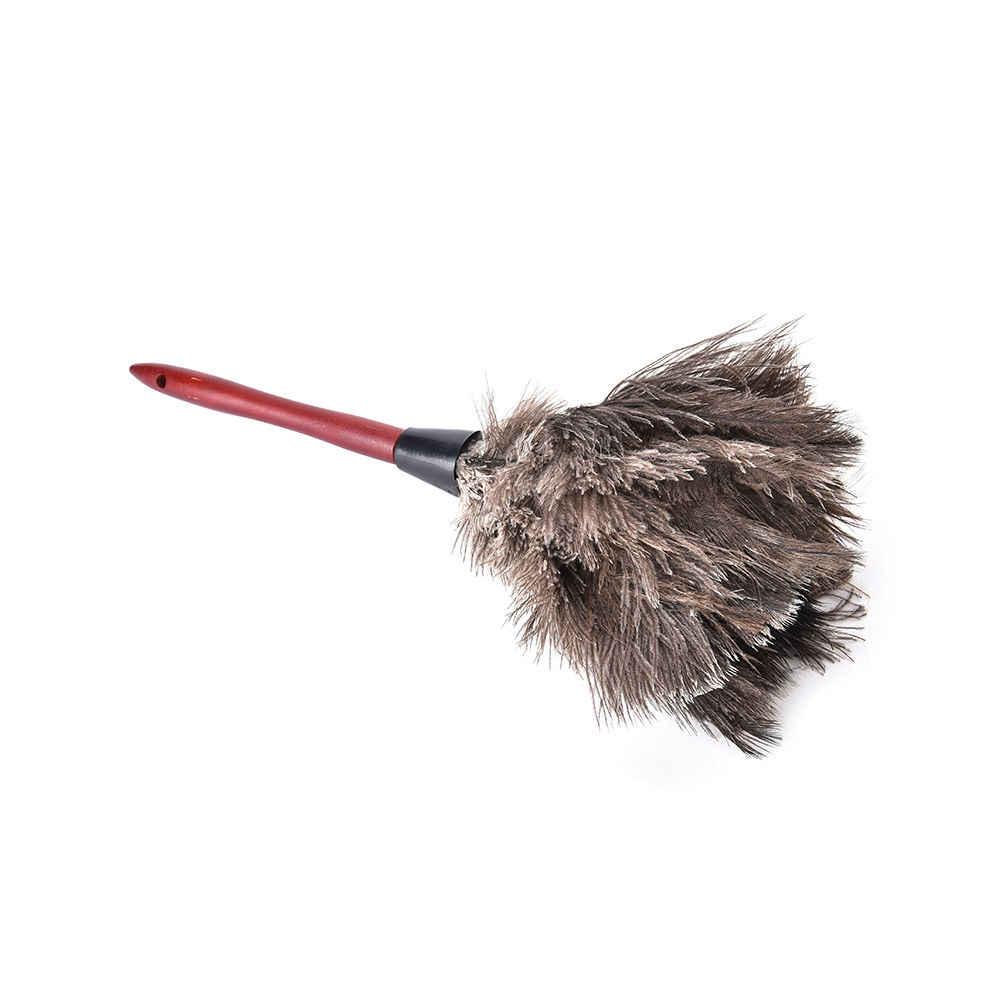 Натуральное осеннее страусиное меховое перо Антистатическая кисточка с деревянной ручкой Бытовая Чистящая тряпка для мебели пылесборник 1 шт.