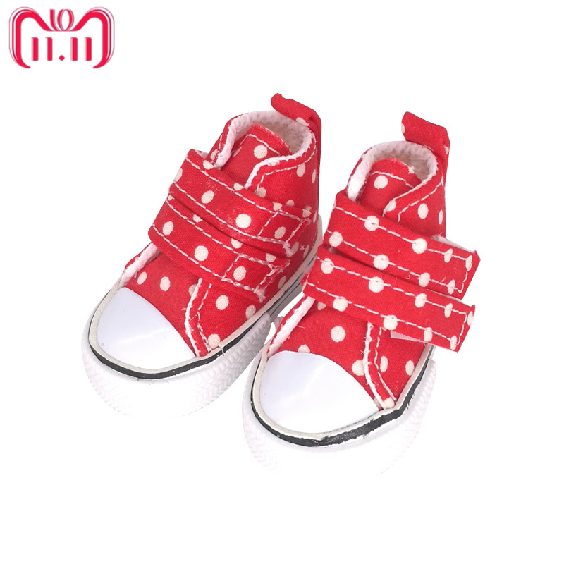 Tilda 6cm Canvas Sneakers For Minifee Paola Reina Dolls,Fabric Shoes for Corolle Doll 1/4 Footwear Sneakers Dolls Accessories цена