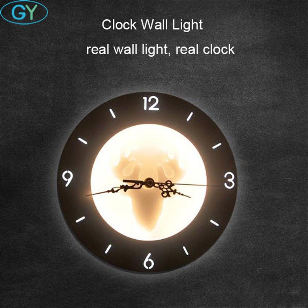 все цены на 18W LED Clock Wall lamp Nordic living room bedroom Kitchen creative wall lights Metal+PMMA white clock wall lighting for home