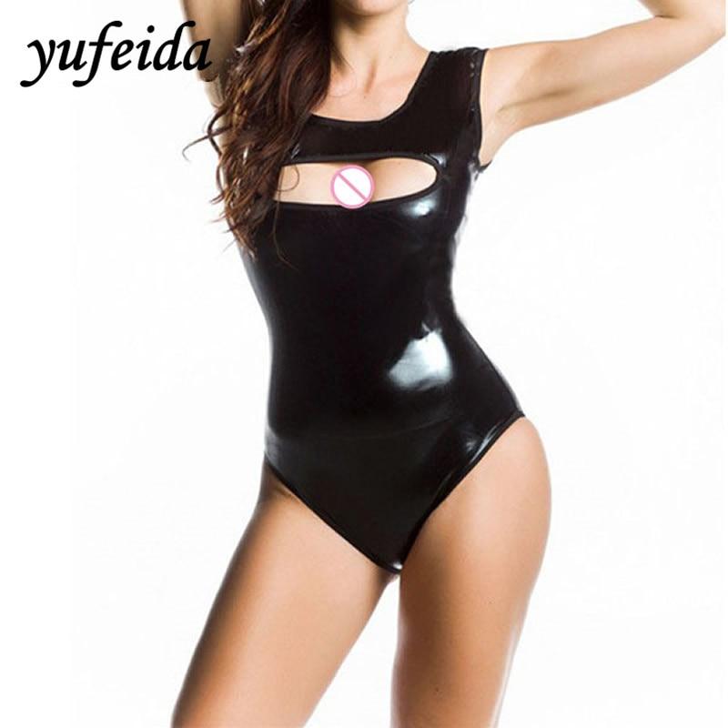 Sexy Womens Bodysuit Black Pu Leather Swimsuit Erotic Thong Leotard Latex Bodysuit Swimwear Clubwear Nightwear Costume Last Style Luggage & Bags