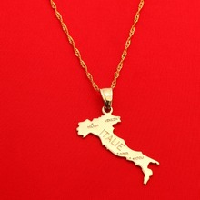 Cadena con colgante de mapa italiano, joyería italiana para mujer, niña, joyería de Color dorado, mapa italiano de Italia, joyería