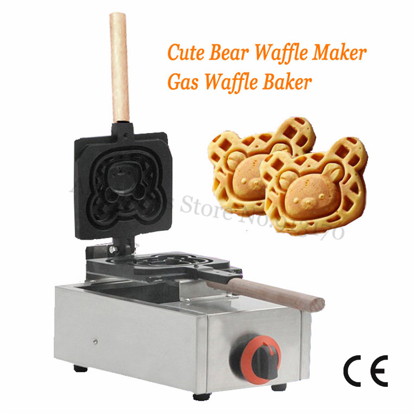 Gas Waffle Maker Cute Bear Cake Baking Machine Adorable Bear Mould Non-stick Waffle Pan Commercial and Household Use commercial use gas triangle wheat cake baker