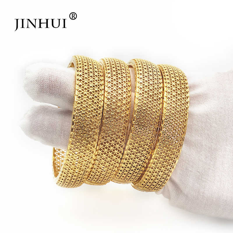 Jin Hui New Fashion lady Luxury Gold Color Jewelry Bangles Ethiopian African Women Dubai Bracelet Party wedding Gifts