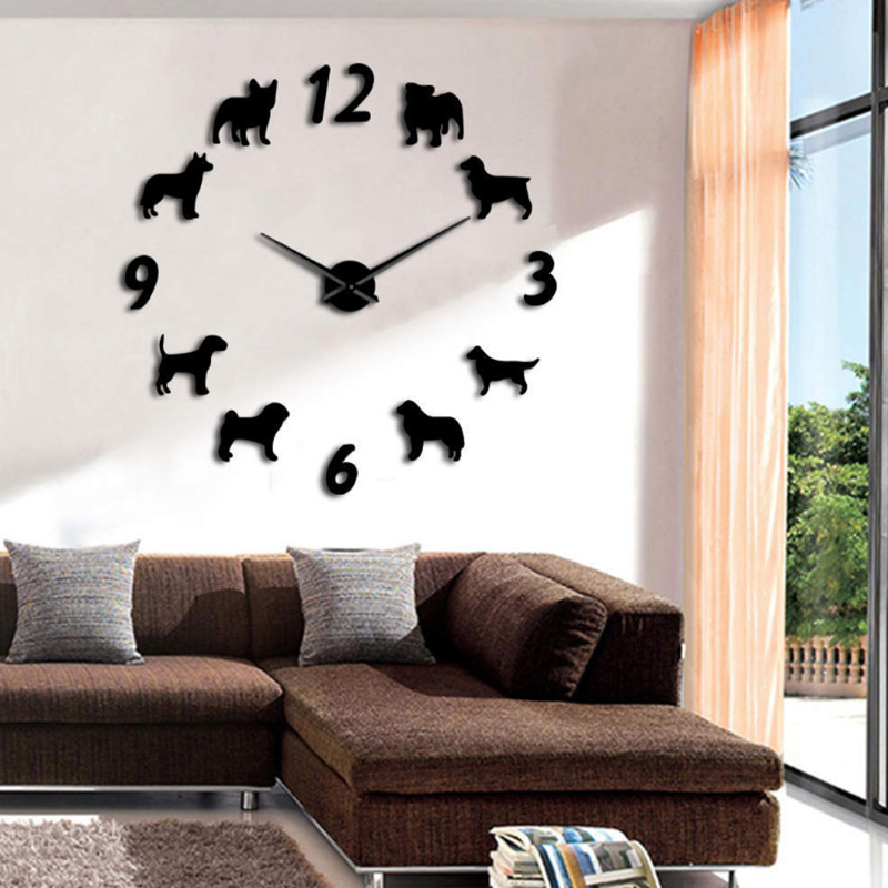 New Arrival Clock Watch Wall Clocks Horloge 3d Dog Pattern Acrylic Mirror Stickers Europe Home Decoration Living Room Quartz