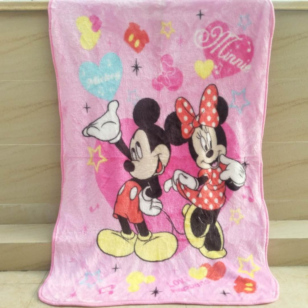 Disney Mickey Mouse and Minnie Raschel Blanket Throw 70x100 or 100x140cm for Baby Kids on Crib/Bed
