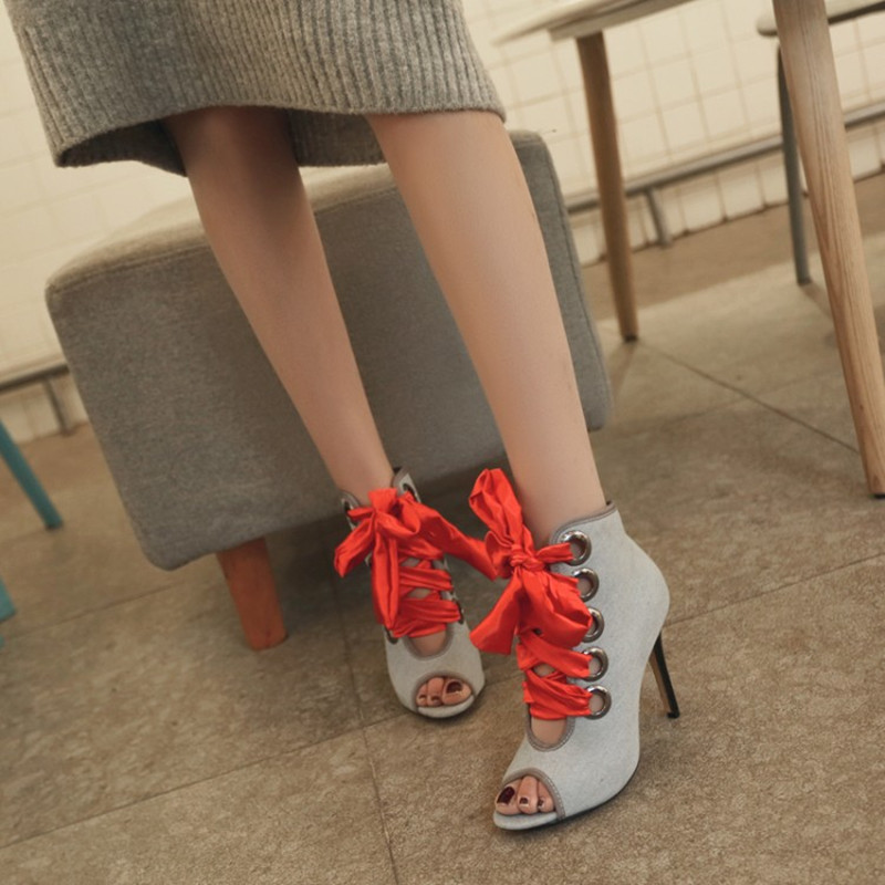 plus size 34-46 New Spring Summer Women Ankle Short Boots Sandals Shoes Woman Fashion Lace Up Denim Gladiator high heels Pumps