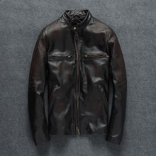 Genuine Leather Jacket Men Spring Autumn Motorcycle Leather Jacket Stand Collar Real Sheepskin Leather Coat Jaqueta Couro YY451