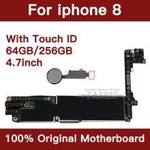 מפעל נעול 64 GB 256 GB הושלם האם עבור iPhone 8 4.7 אינץ המקורי Mainboard עם מגע מזהה IOS עדכון תמיכה
