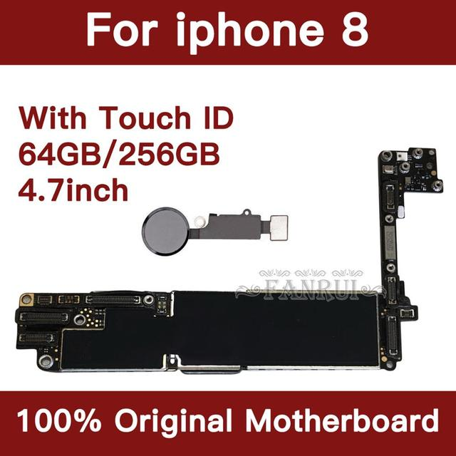 Factory Unlocked 64GB 256GB Completed Motherboard For iPhone 8 4.7inch Original Mainboard With Touch ID IOS Update Support