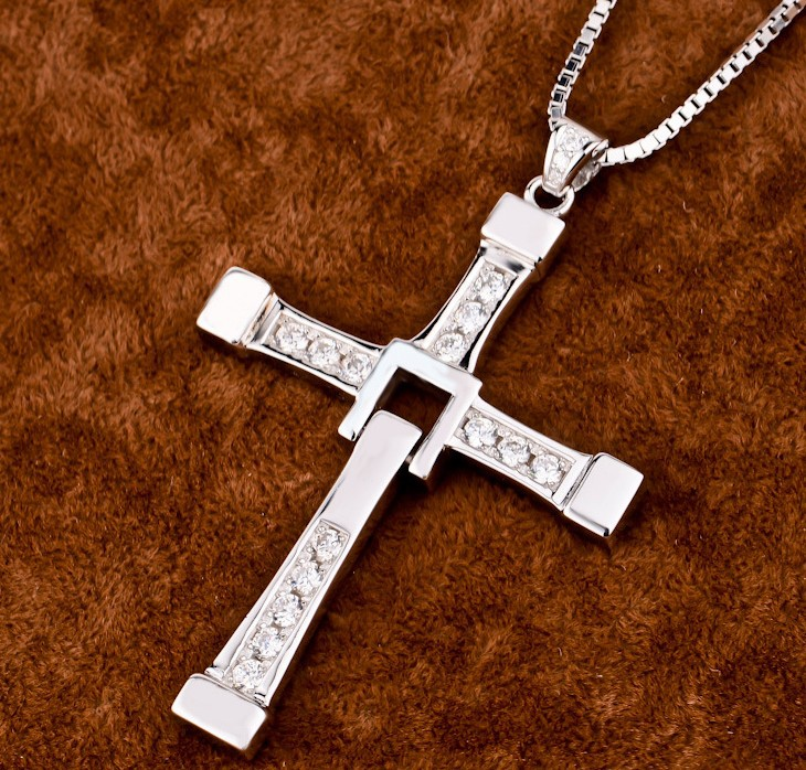 FAST and FURIOUS Necklace Toretto's 925 Sterling Silver Jewelry Cross Pendant Necklace Free With Silver Chain High Quality 100% high quality the fast and the furious celebrity vin diesel item crystal jesus cross pendant necklace for men gift jewelry