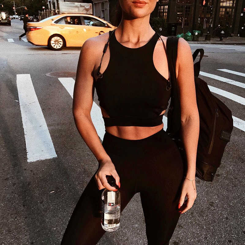 Sexy Women Sports Bra Top Female HollowOut Racerback Sleeveless Fitness Gym Running Yoga Vest Tank Crop Top Activewear Brassiere