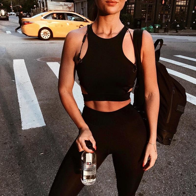 Sexy Women Sports Bra Top Female HollowOut Racerback Sleeveless font b Fitness b font Gym Running