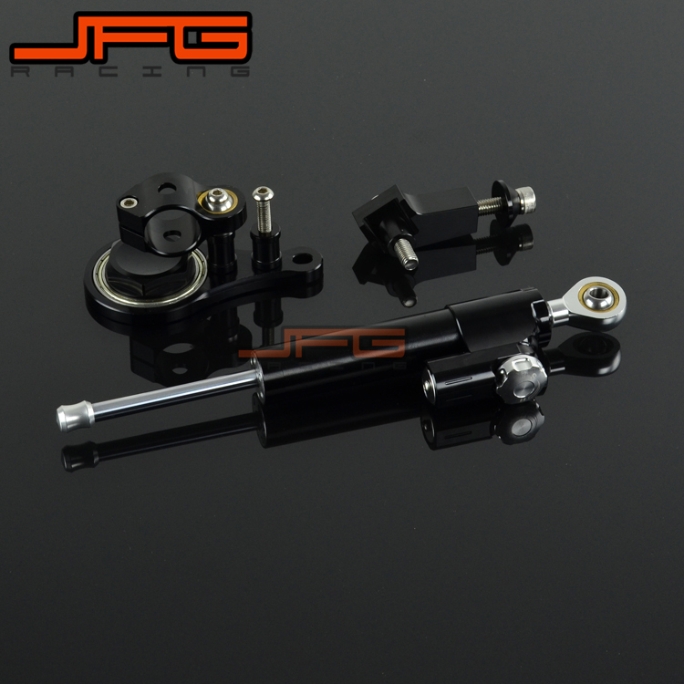 CNC Steering Damper Stabilizer Linear Reversed Safety Control & Adapter Bracket For KAWASAKI ZX6R ZX-6R 2005 2006 05 06 cnc steering damper stabilizer linear reversed safety control & adapter bracket for honda cb400 cb 400 vtec 1999 2000 2001 2012