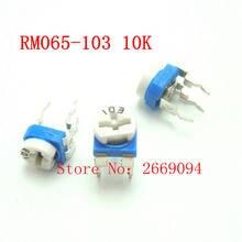50 PCS RM-065 RM065 10 K ohm Trimpot Trimmer Potenciômetro resistor variável 103 RM065-103 frete grátis