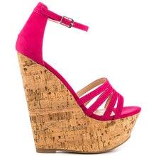 Hot Pink Sandal For Women Wedges Platform Nubuckle Leather Women High Heel Sandal Cover Heel Ankle Strap Open Toe 2015 New
