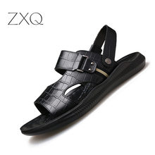 Mens Sandals 2019 New Summer Fashion Genuine Leather Crocodile Pattern British Shoes Outdoor