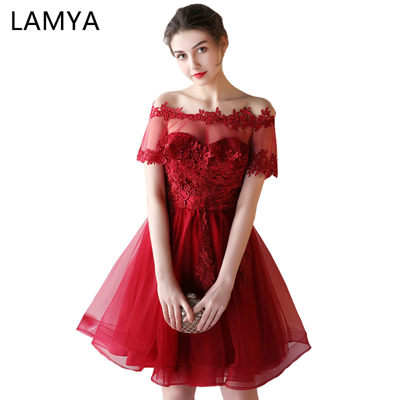 LAMYA Off The Shoulder Short Ball Gown   Prom     Dresses   2019 Women Cheap Wine Red Lace Evening Party Gown Lace Up Vestidos De Novia