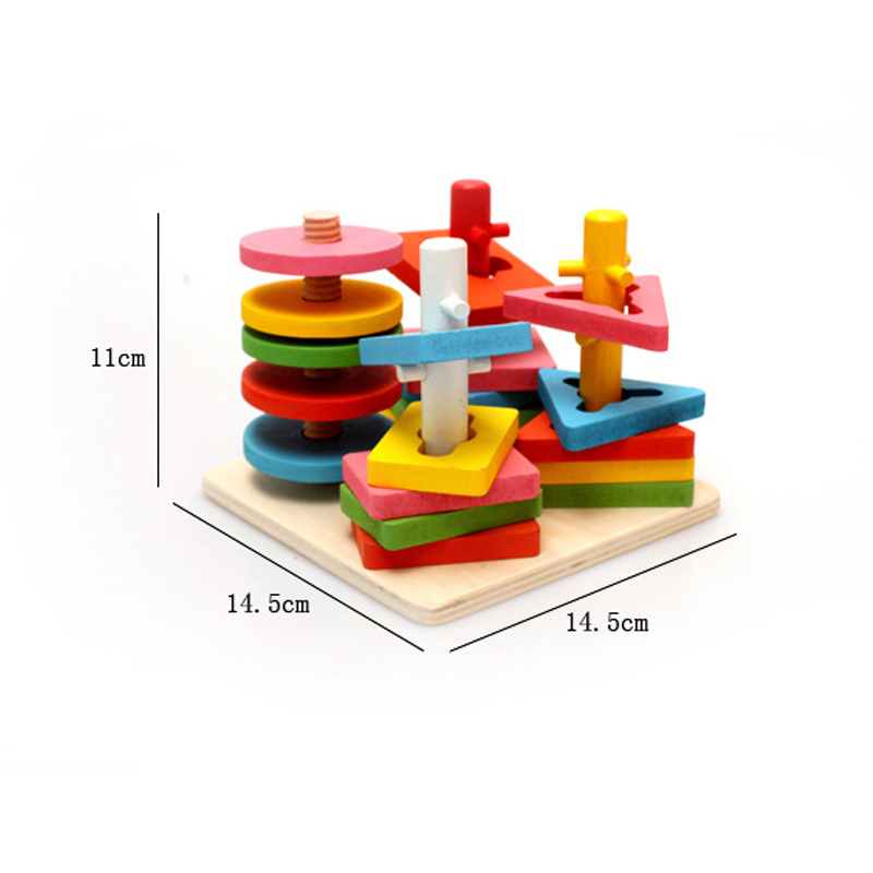 1 Pcs Houten Kolom Vormen Stapelen Speelgoed Baby Voorschoolse Educatief Geometrische Sorteren Board Blokken Montessori Bouwstenen Speelgoed Klanten Eerst