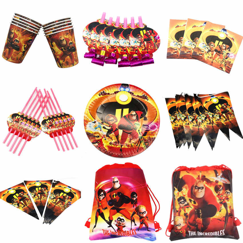 Disney the incredibles birthday party supplies kids set party bags for kids birthdays drawstring non-woven paper cups plates