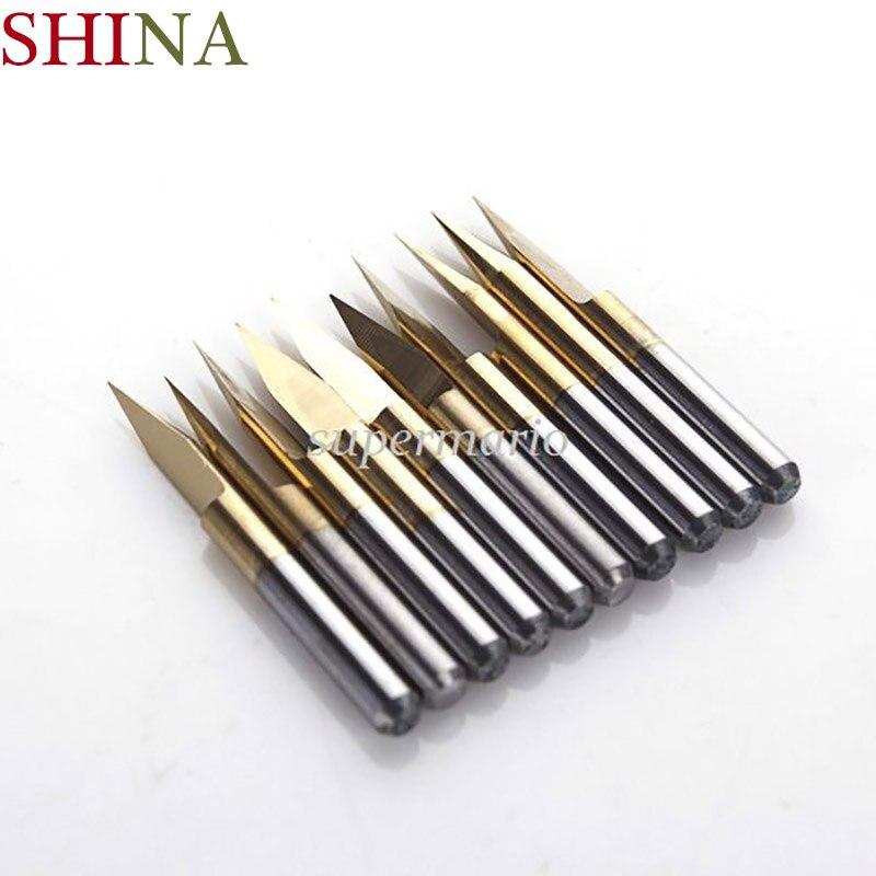 10pcs /5pcs/1pc  Titanium  Coated Milling Cutters Carbide PCB Engraving CNC Bit Router Tool 3.175*25 Degree 0.1mm Tip End Mill