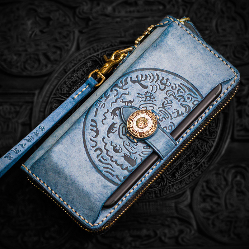 Handmade hand bag fog wax calfskin men's wallet women luxury brand high-end activity law wheel long zipper wallet money clip passive activity rules – law