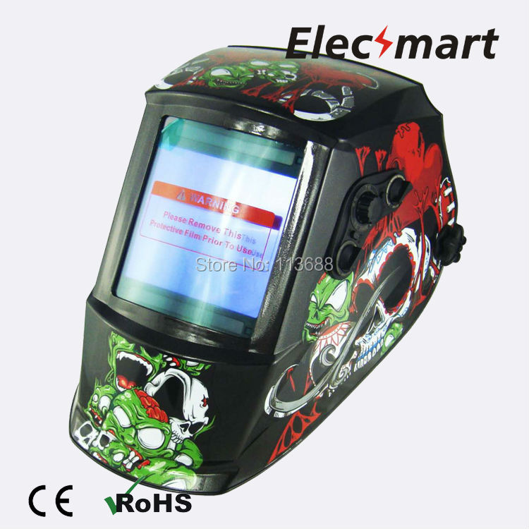 Green monster auto darkening welding helmet TIG MIG MMA electric welding mask/helmet/welder cap/lens for welding fire flames auto darkening solar powered welder stepless adjust mask skull lens for welding helmet tools machine free shipping