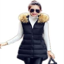 2016 Autumn And Winter new women Korean Slim Fur Collar Plus Size Hooded Outerwear Long Paragraph Down Vest Cotton Clothes LD113