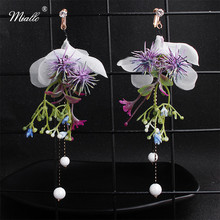 Miallo 2019 New Arrivals Purple Simulated Flowers Bridal Clip Earrings Adjustable Wedding Bride Bridesmaids Long Women