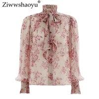 Ziwwshaoyu Chiffon red printed shirt women's blouse and shirt long sleeve women's spring and summer high collar bohemian beachs