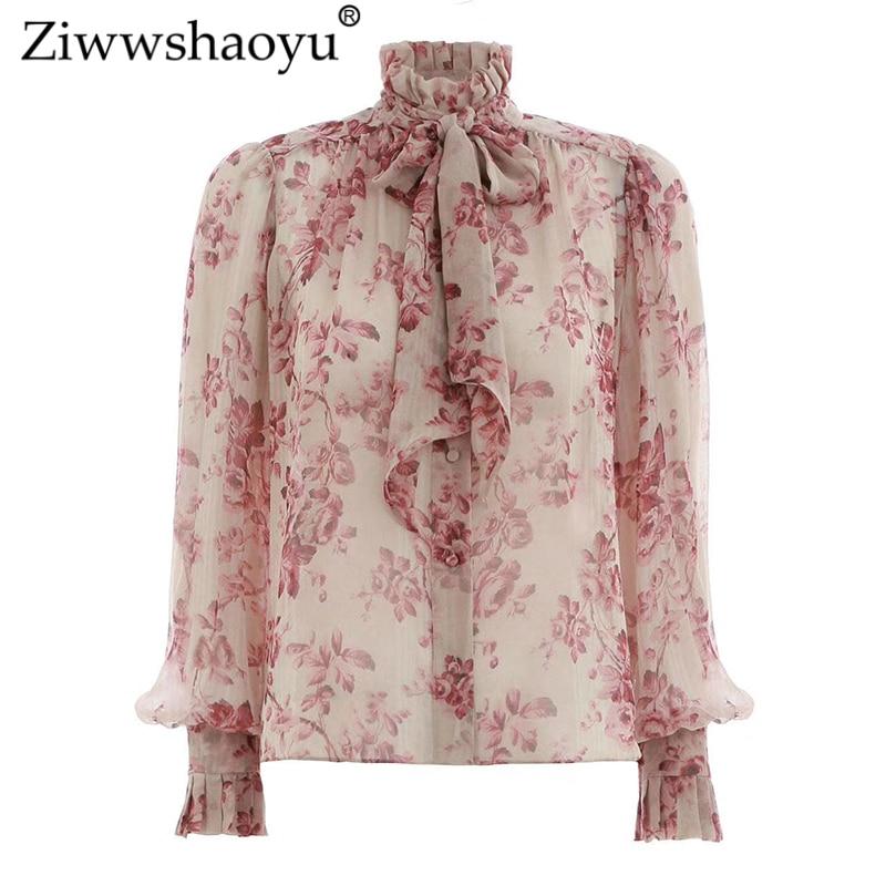 Ziwwshaoyu mousseline de soie rouge imprimé chemise femmes blouse et chemise à manches longues femmes printemps et été col haut bohème beachs