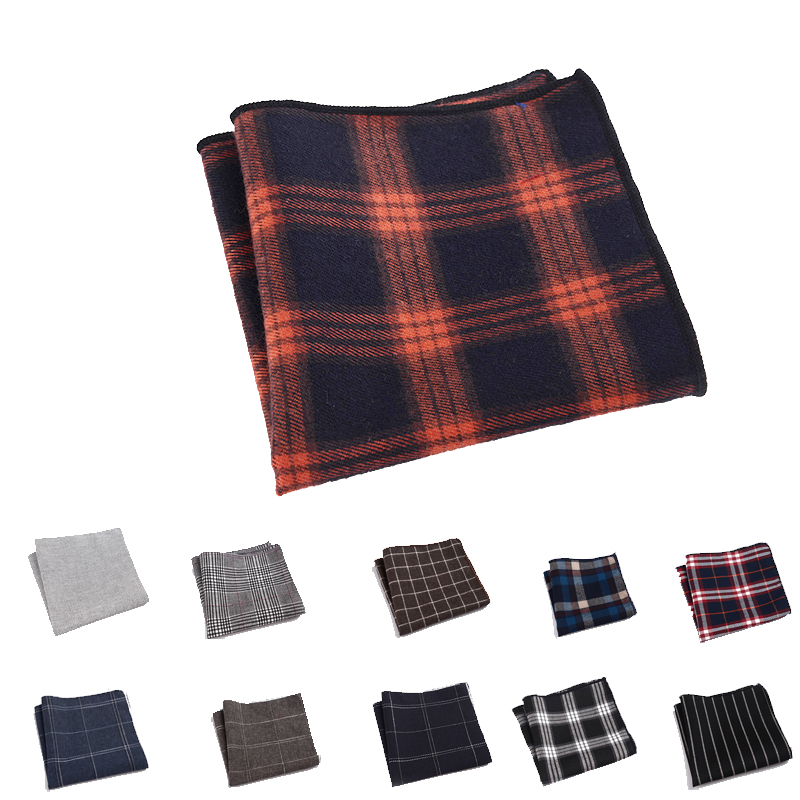 23 Cm High Quality Classical England Style Striped Cotton Pocket Squares Soft Touch Ordinary Gentleman Grid Handkerchiefs