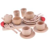 16 piece Wooden Tea Set Pretend Play Toy Educational Game For Kids Children Soild Beech Saucer Cup Salver Teapot Coffee Set