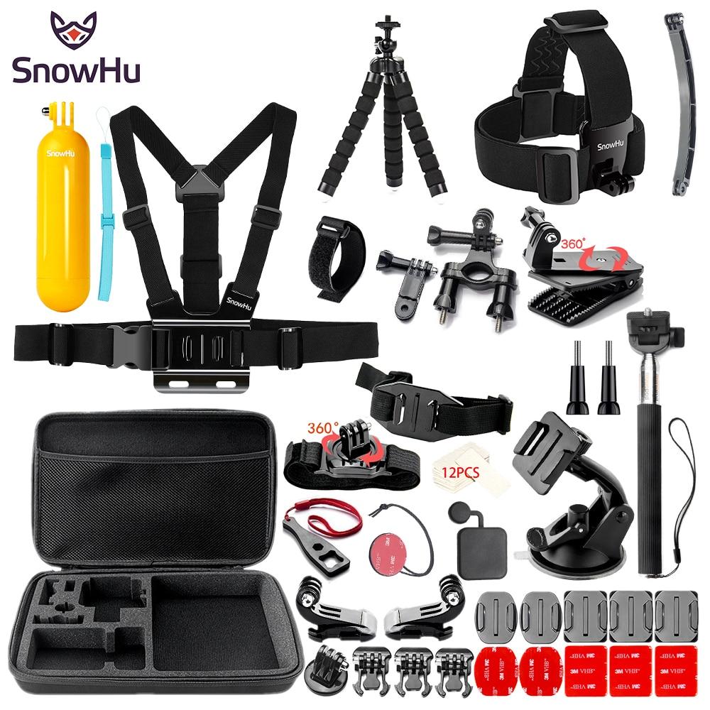 SnowHu pour Gopro hero Y84 accessoires grand sac Selfie stick bandeau antibrouillard set pour Go pro hero 7 6 5 4 pour EKEN H9 xiaomi yi