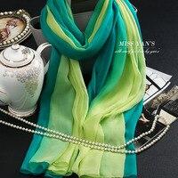 Genuine Silk Women Scarf Fashion Classic Fruit Green Scarves 2016 Summer Autumn Winter Good Quality Necklace Shawl