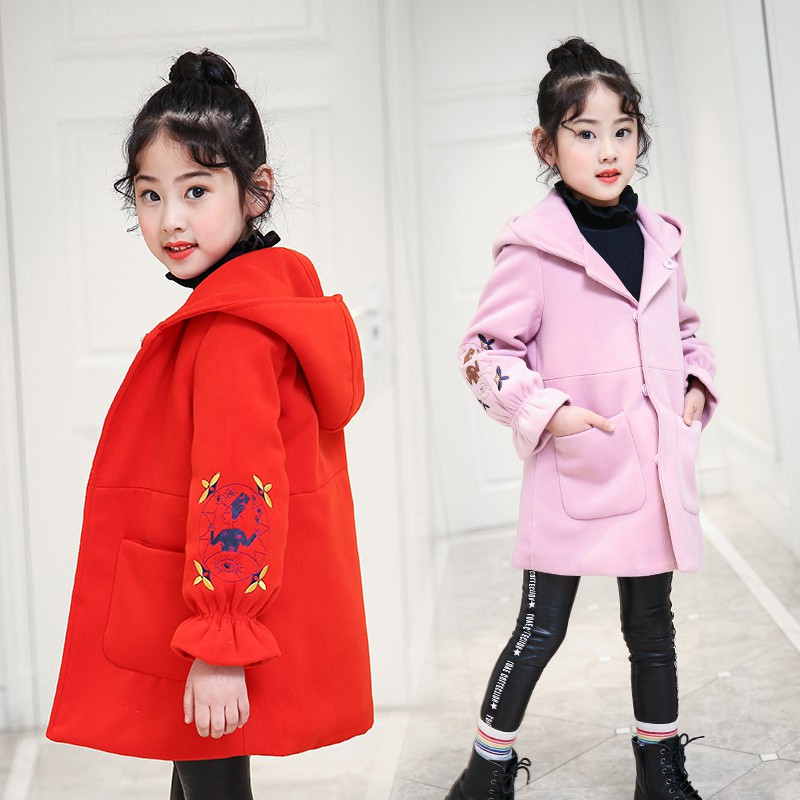 Children Wool Coats 2018 New Autumn Girls Hooded Clothing Baby Kids Long Overcoats Winter Outwearing Tee Tops For 3 to 12 Years цена
