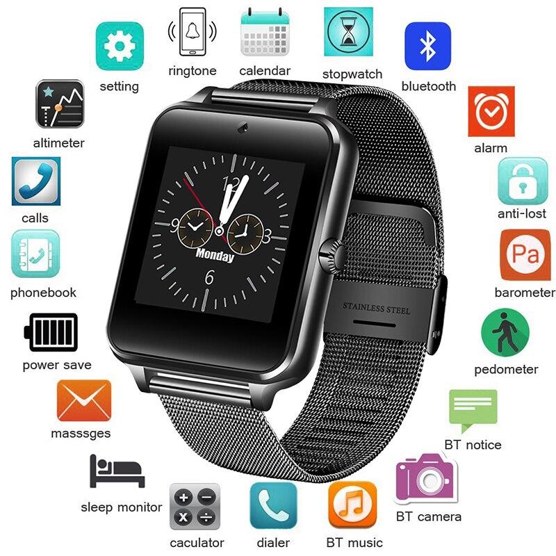 Männer Smart Uhr Bluetooth Sport Wasserdichte Aktivität Tracker SmartWatch Unterstützung SIM TF kassette kamera für Android smartphone + Box