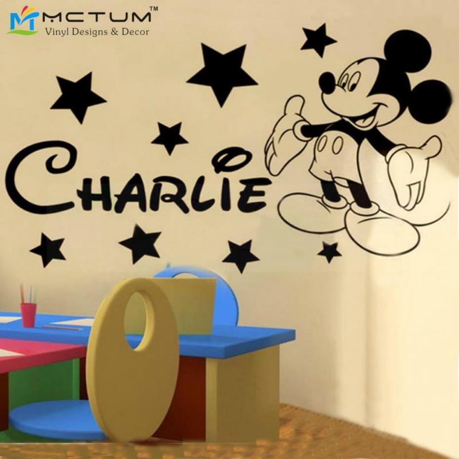 Mickey Mouse Wall Decal Boy Sport Soccer Football Ball Custom Name ...
