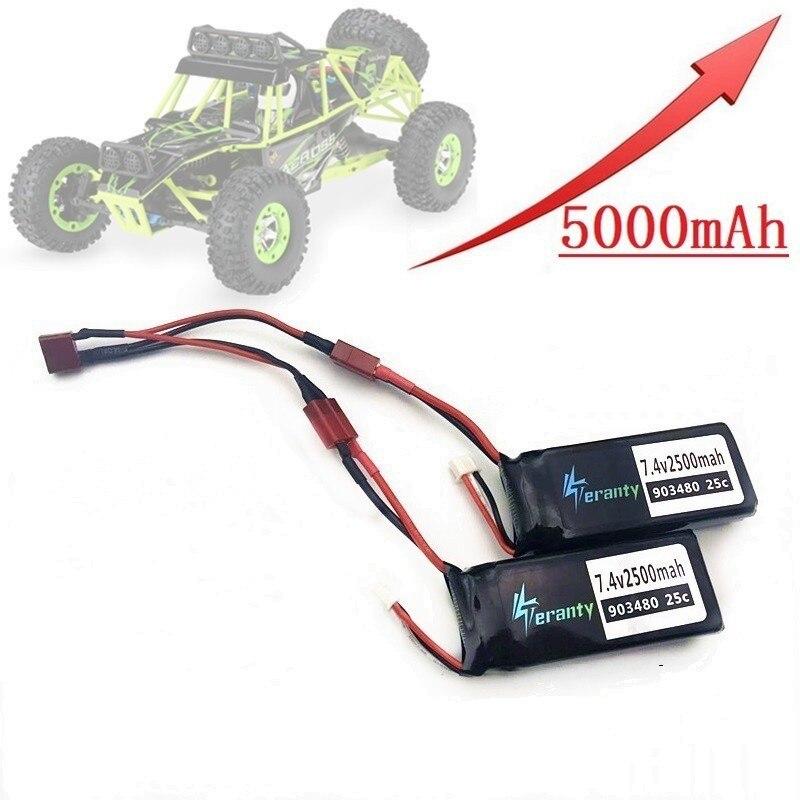 Upgrade 4000mAh 5000MAH 7.4v Lipo Battery For Wltoys 12428 12423 RC Car Spare Parts 7.4V 2500mah Battery/1500mah Battery 903480